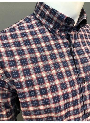 Abbate Kolay Ütülenır Düğmelı Yaka Regularfıt Ekose Ceplı Gömlek Bordo